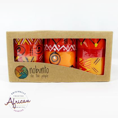 3 x Short Cylinder Candles in Recycled Gift Box - Zahabu
