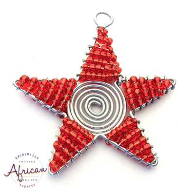 Beaded Christmas Star Small (Red)