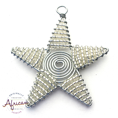Beaded Christmas Star Small (Silver)