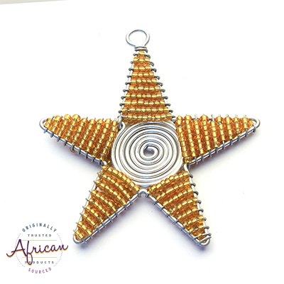 Beaded Christmas Star Large (Gold)
