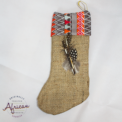 African Hessian Christmas Stocking Pattern 3