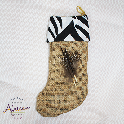 African Hessian Christmas Stocking Pattern 4