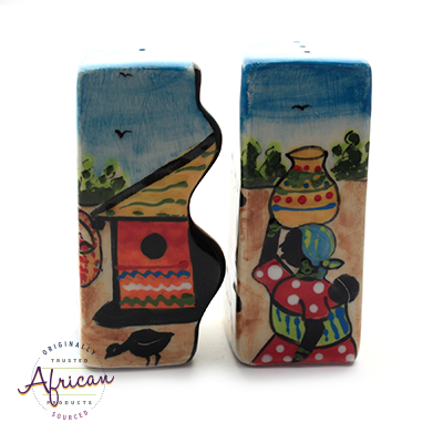 Ceramic Wiggle Salt and Pepper Set Village