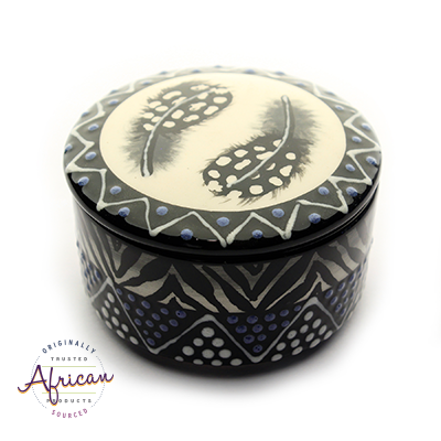 Ceramic Round Trinket Box Ndebele