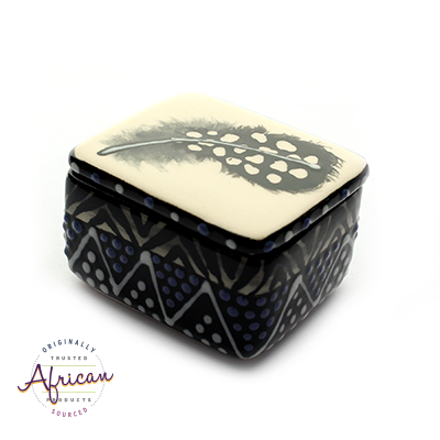 Ceramic Rectangular Trinket Box Ndebele