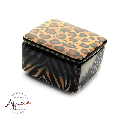 Ceramic Rectangular Trinket Box Tribal