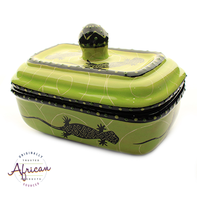 Ceramic Rectangular Butter Dish Green Lizard