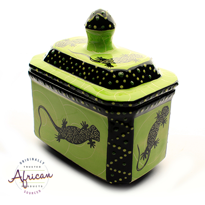 Ceramic Tea Bag Canister Green Lizard