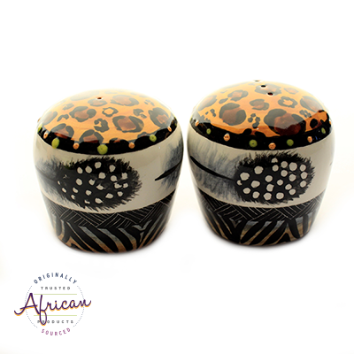 Ceramic Salt and Pepper Set Tribal