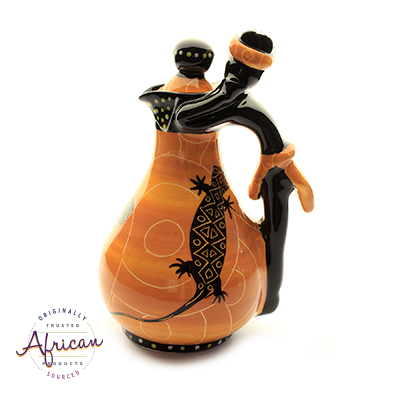 Ceramic Salad Dressing Bottles Orange Lizard