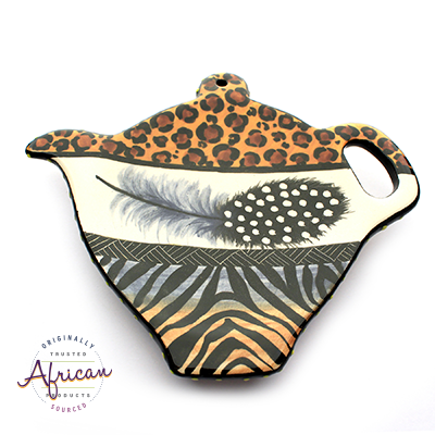 Ceramic Tea Bag Holder Tribal