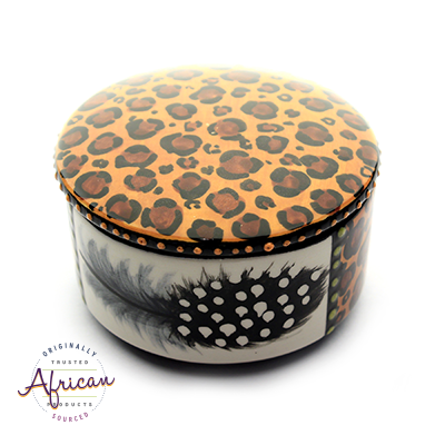 Ceramic Round Trinket Box Tribal