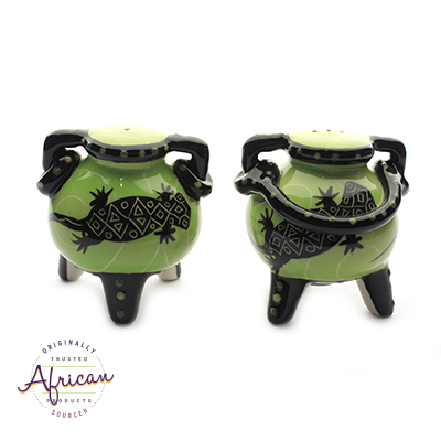 Ceramic Boma Salt and Pepper Set Green Lizard