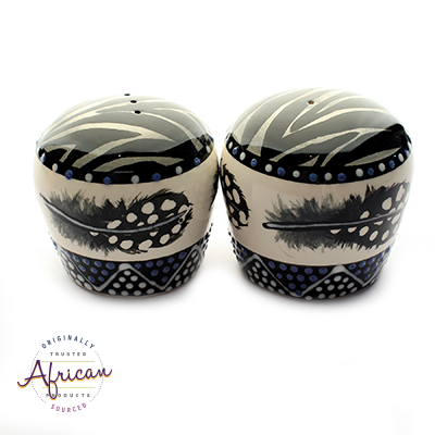 Ceramic Salt and Pepper Set Ndebele