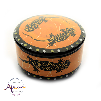 Ceramic Round Trinket Box Orange Lizard