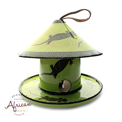 Ceramic Bird Feeders Green Lizard