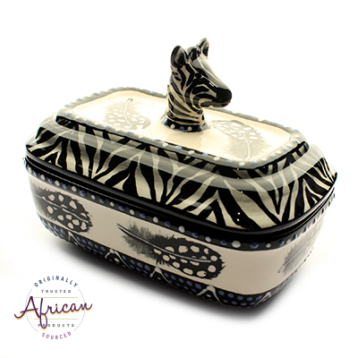 Ceramic Rectangular Butter Dish Ndebele