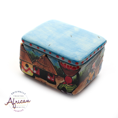 Ceramic Rectangular Trinket Box Village