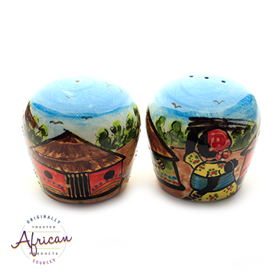 Ceramic Salt and Pepper Set Village