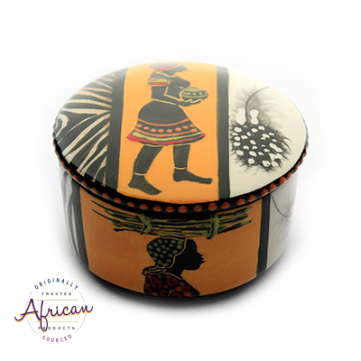 Ceramic Round Trinket Box Shona