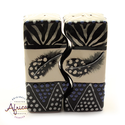 Ceramic Wiggle Salt and Pepper Set Ndebele
