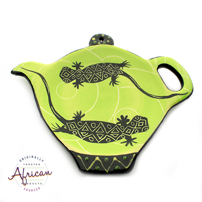 Ceramic Tea Bag Holder Green Lizard