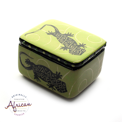 Ceramic Rectangular Trinket Green Lizard