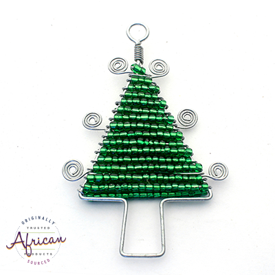 Beaded Christmas Trees Flat (Green)