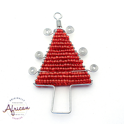 Beaded Christmas Tree Flat (Red)