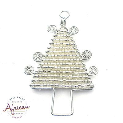 Beaded Christmas Trees Flat (Silver)