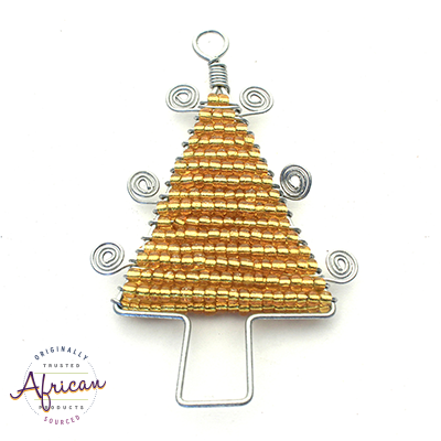 Beaded Christmas Trees Flat (Gold)