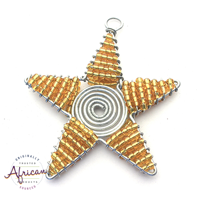 Beaded Christmas Star Small (Gold)