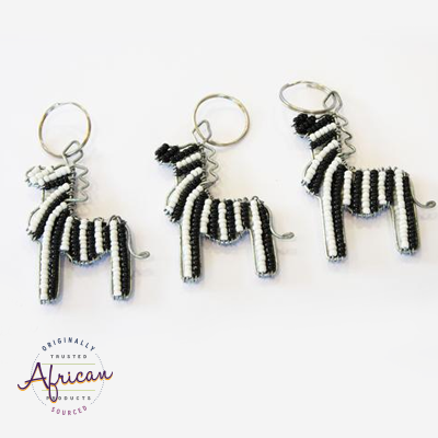 Beaded Key Chain - Zebra