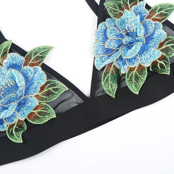 Flower Bralette in Black - TheVarietyClub.com