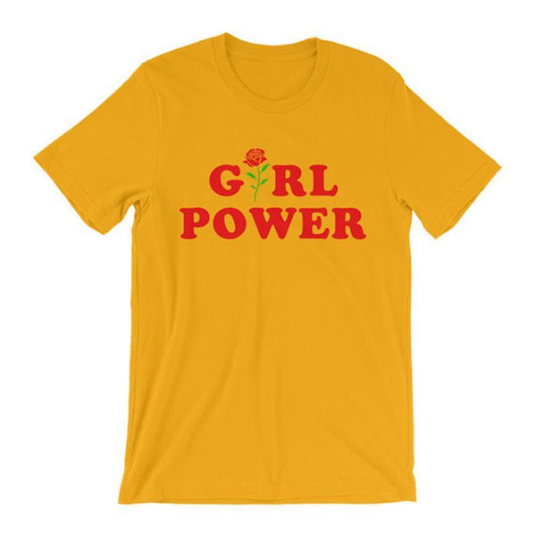 Girl Power T-Shirt in Yellow - TheVarietyClub.com