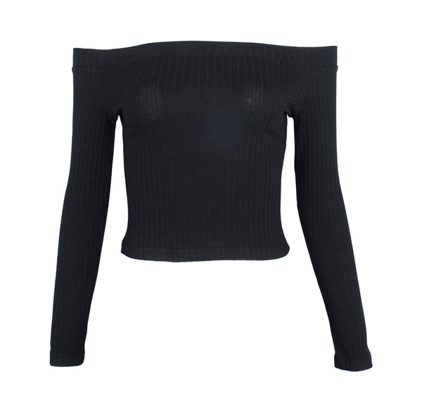 Off Shoulder Crop Top in Black - TheVarietyClub.com