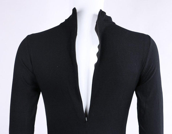 Long Sleeve Cotton Knitted Bodysuit in Black - TheVarietyClub.com