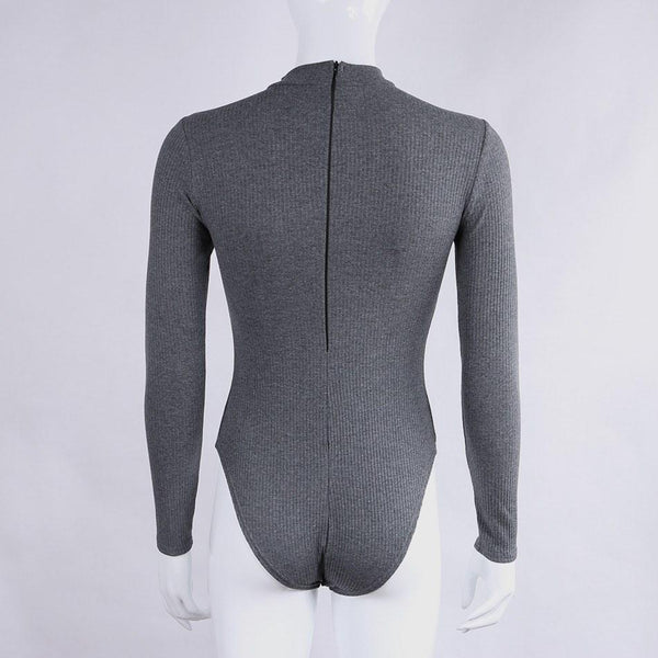 Long Sleeve Cotton Knitted Bodysuit in Dark Grey - TheVarietyClub.com