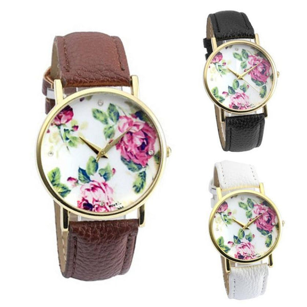 Rose Floral Quartz Watch