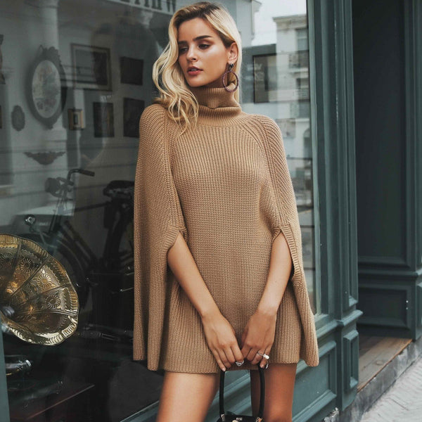 Knitted Turtleneck Cloak