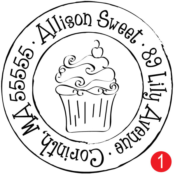 Cutie Cupcake Custom Address Stamp