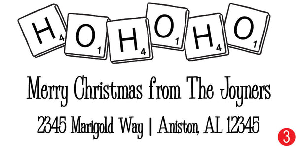 Scrabble Ho Ho Ho Customized Christmas Address Stamp