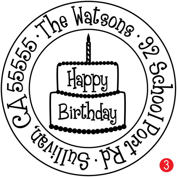 Happy Birthday Cake Personalized Address Stamp