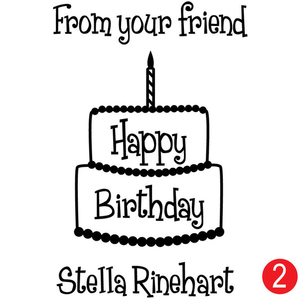Birthday Cake Custom Tag Stamp