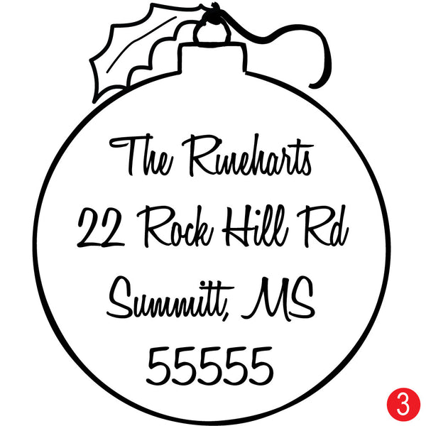 Christmas Ornament Personalized Address Stamp