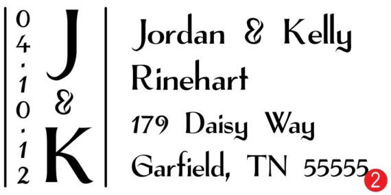 Wedding Rectangle Monogram Address Stamp