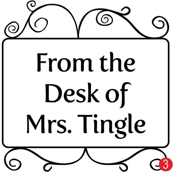 Swirly Personalized Teacher Stamp
