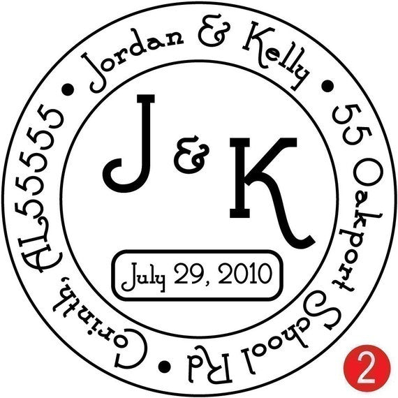 Round Monogram Return Address Stamp