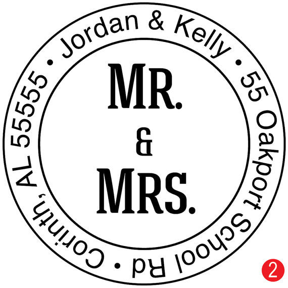 Mr. & Mrs. Custom Wedding Address Stamp