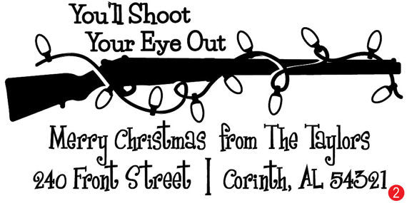 You'll Shoot Your Eye Out Custom Holiday Address Stamp